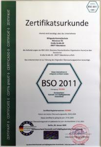 Bilinguale Kosmetikschule kosmetikschule BSO 2011 Zertifikatsurkunde